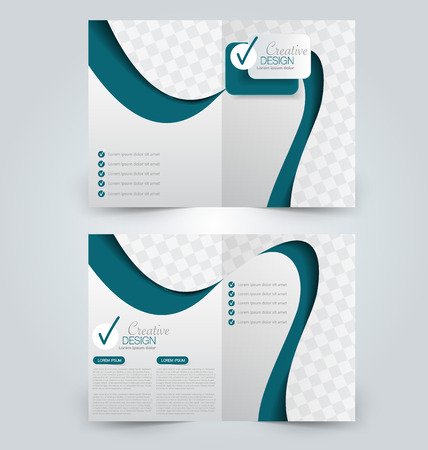 double page: Abstract flyer design background. Brochure template. Can be used for magazine cover, business mockup, education, presentation, report. Blue color. Illustration