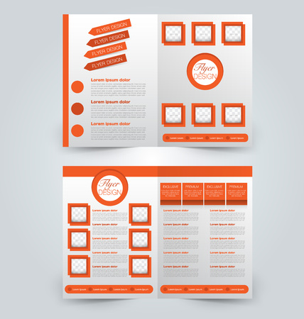 double page: Abstract flyer design background. Brochure template. Can be used for magazine cover, business mockup, education, presentation, report. Orange color. Illustration