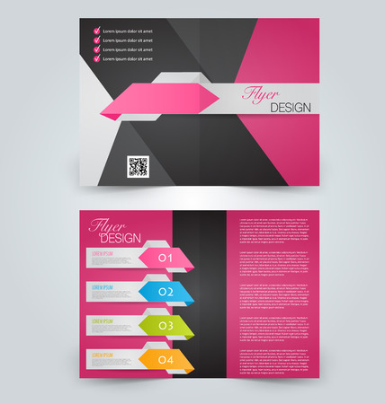 double page: Abstract flyer design background. Brochure template. Can be used for magazine cover, business mockup, education, presentation, report. Black and pink color.