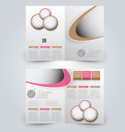 double page: Abstract flyer design background. Brochure template. Can be used for magazine cover, business mockup, education, presentation, report. Pink and brown color. Illustration