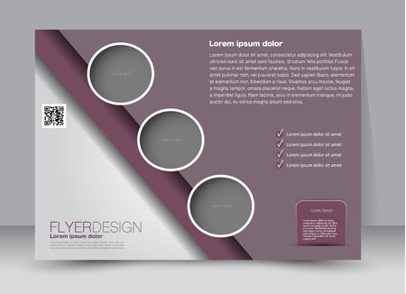 advertising design: Flyer, brochure, billboard template design landscape orientation for education, presentation, website. Dark red color. Editable vector illustration. Illustration