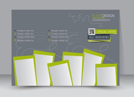 Flyer, brochure, magazine cover template design landscape orientation for education, presentation, website. Green and grey color. Editable vector illustration.