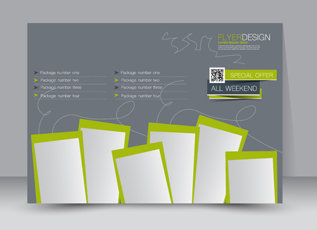 Flyer, brochure, magazine cover template design landscape orientation for education, presentation, website. Green and grey color. Editable vector illustration.