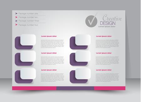 Flyer, brochure, billboard template design landscape orientation for education, presentation, website. Pink and purple color. Editable vector illustration.