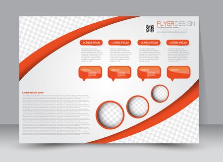 Flyer, brochure, magazine cover template design landscape orientation for education, presentation, website. Orange color. Editable vector illustration.