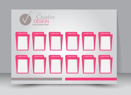 advertise: Flyer, brochure, magazine cover template design landscape orientation for education, presentation, website. Pink color. Editable vector illustration.