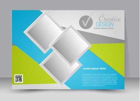 Flyer, brochure, billboard template design landscape orientation for education, presentation, website. Green and blue color. Editable vector illustration.