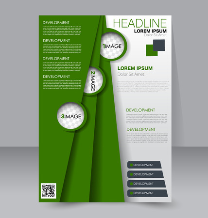 handout: Abstract flyer design background. Brochure template. To be used for magazine cover, business mockup, education, presentation, report. Green color. Illustration