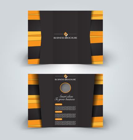 booklet design: Brochure mock up design template for business, education, advertisement. Trifold booklet editable printable vector illustration. Orange and black color. Illustration