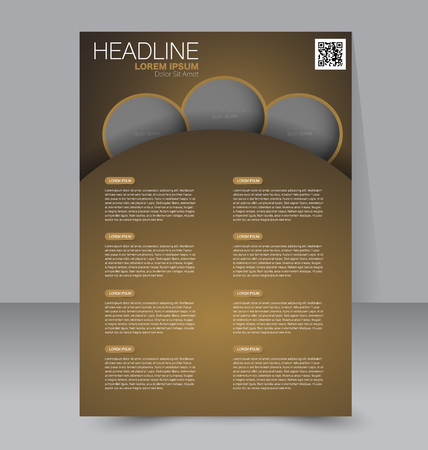 handout: Abstract flyer design background. Brochure template. To be used for magazine cover, business mockup, education, presentation, report. Brown color.