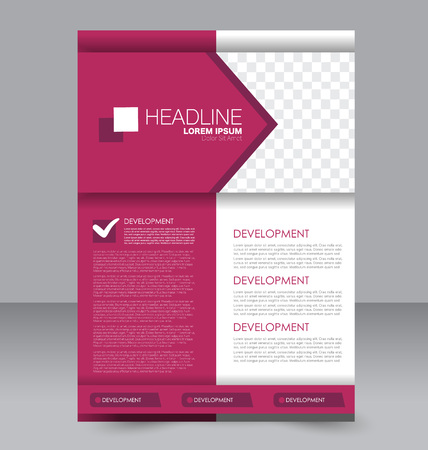 handout: Abstract flyer design background. Brochure template. To be used for magazine cover, business mockup, education, presentation, report. Pink color.