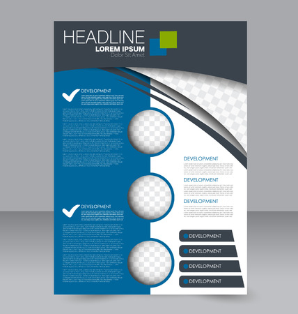handout: Abstract flyer design background. Brochure template. To be used for magazine cover, business mockup, education, presentation, report. Green and blue color.
