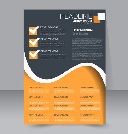 handout: Abstract flyer design background. Brochure template. To be used for magazine cover, business mockup, education, presentation, report. Orange and grey color.