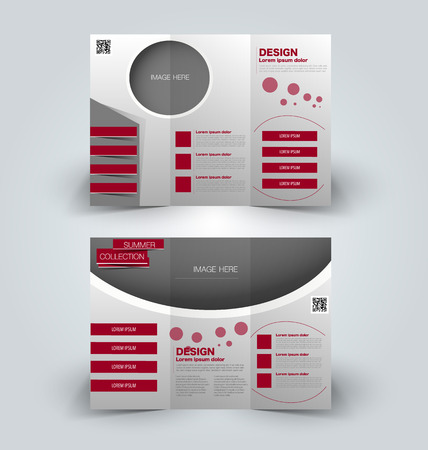 corporations: Brochure mock up design template for business, education, advertisement. Trifold booklet editable printable vector illustration. Red color. Illustration
