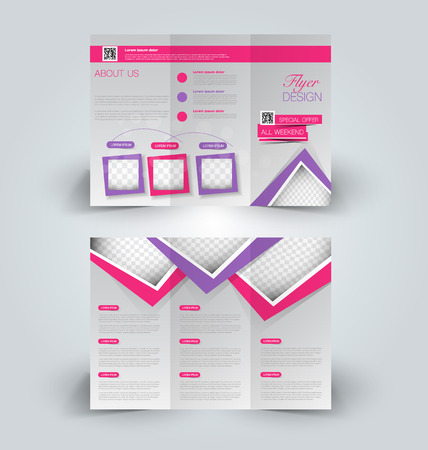 corporations: Brochure mock up design template for business, education, advertisement. Trifold booklet editable printable vector illustration. Pink and purple color.