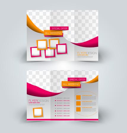 corporations: Brochure mock up design template for business, education, advertisement. Trifold booklet editable printable vector illustration. Orange and pink color. Illustration