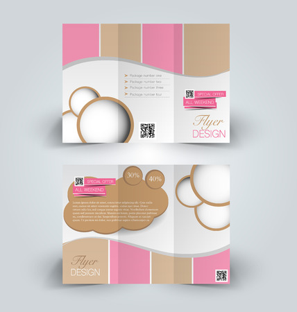corporations: Brochure mock up design template for business, education, advertisement. Trifold booklet editable printable vector illustration. Pink and brown color. Illustration