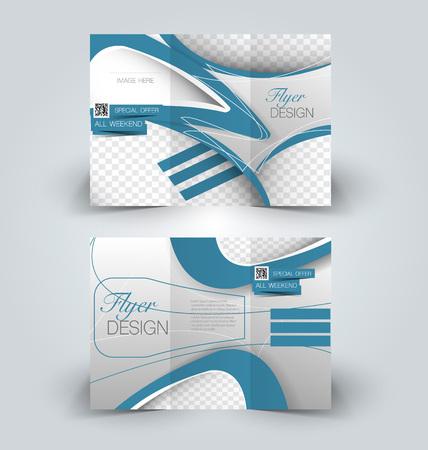 corporations: Brochure mock up design template for business, education, advertisement. Trifold booklet editable printable vector illustration. Blue color. Illustration