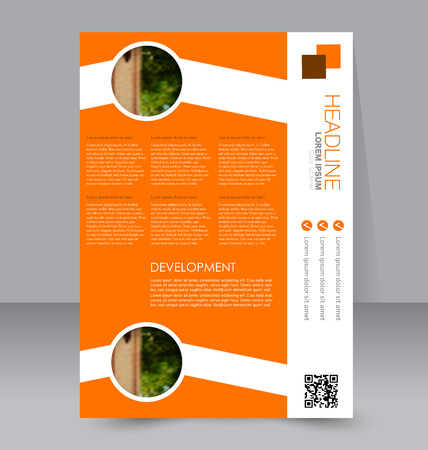 handout: Abstract flyer design background. Brochure template. To be used for magazine cover, business mockup, education, presentation, report. Orange color.