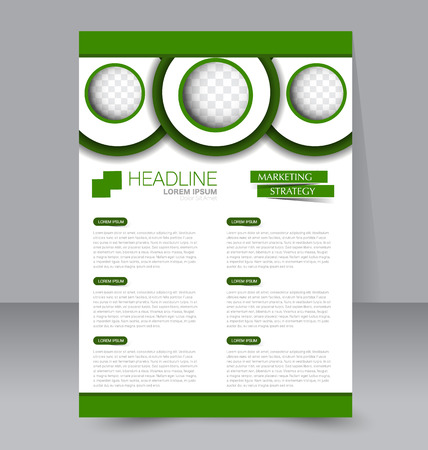 be green: Abstract flyer design background. Brochure template. To be used for magazine cover, business mockup, education, presentation, report. Green color. Illustration