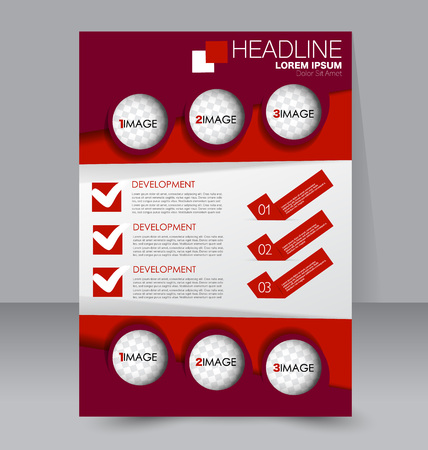 handout: Abstract flyer design background. Brochure template. To be used for magazine cover, business mockup, education, presentation, report. Red color. Illustration