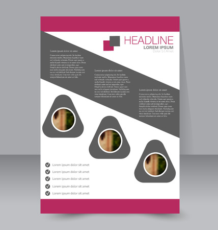 handout: Abstract flyer design background. Brochure template. To be used for magazine cover, business mockup, education, presentation, report. Pink and grey color.
