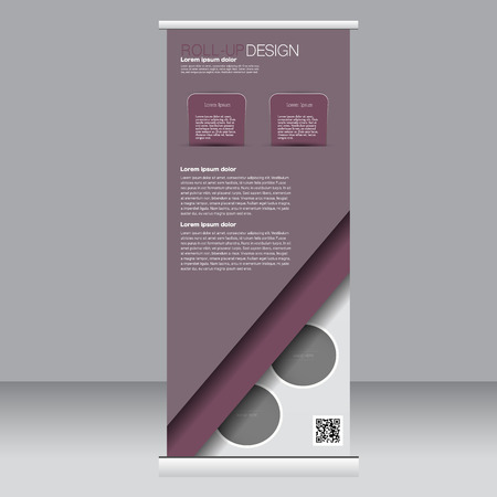 rollup: Roll up banner stand template. Abstract background for design,  business, education, advertisement. Dark red color. Vector  illustration.