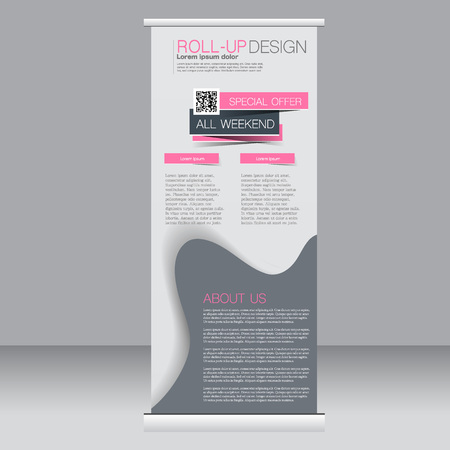 rollup: Roll up banner stand template. Abstract background for design,  business, education, advertisement. Pink and grey color. Vector  illustration. Illustration