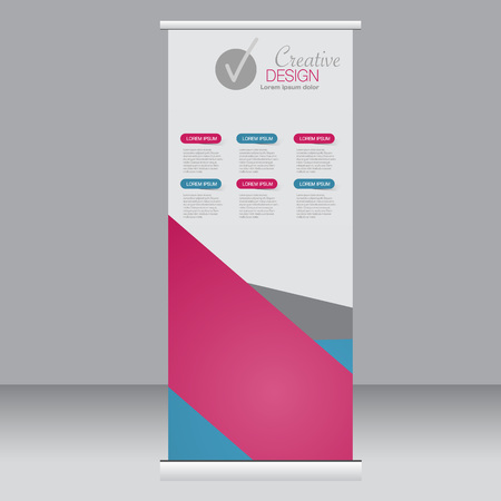 rollup: Roll up banner stand template. Abstract background for design,  business, education, advertisement. Pink and blue color. Vector  illustration.