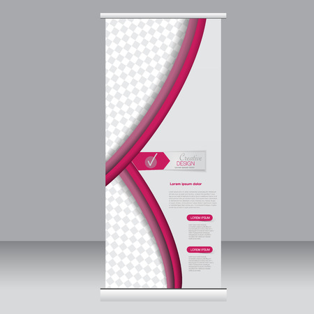 rollup: Roll up banner stand template. Abstract background for design,  business, education, advertisement. Pink color. Vector  illustration. Illustration