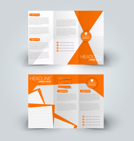 Brochure mock up design template for business, education, advertisement. Trifold booklet editable printable vector illustration. Orange color.