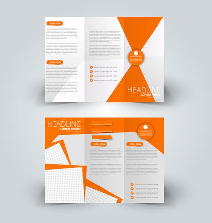 Folleto maqueta plantilla de diseño para los negocios, la educación, la publicidad. Tríptico folleto ilustración vectorial editable imprimible. Color naranja.