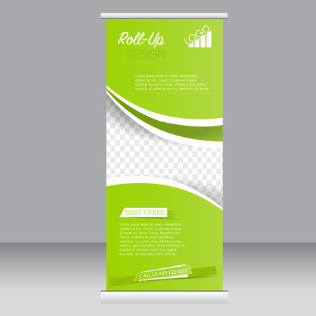 rollup: Roll up banner stand template. Abstract background for design,  business, education, advertisement. Green color. Vector  illustration.