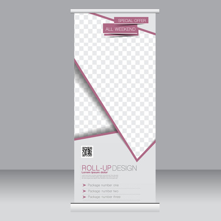 rollup: Roll up banner stand template. Abstract background for design,  business, education, advertisement. Red color. Vector  illustration.