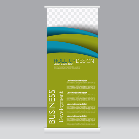 rollup: Roll up banner stand template. Abstract background for design,  business, education, advertisement. Blue and green color. Vector  illustration.