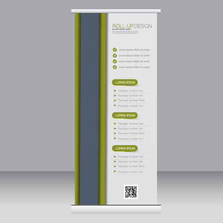 rollup: Roll up banner stand template. Abstract background for design,  business, education, advertisement. Grey and green color. Vector  illustration. Illustration