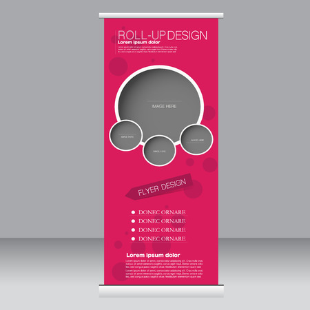 Roll up banner stand template. Abstract background for design,  business, education, advertisement. Pink color. Vector  illustration. Stock Illustratie