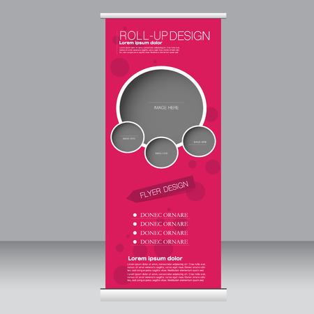 Roll up plantilla de soporte de la bandera. Resumen de antecedentes para el diseño, negocios, educación, publicidad. Color rosa. Ilustración del vector.