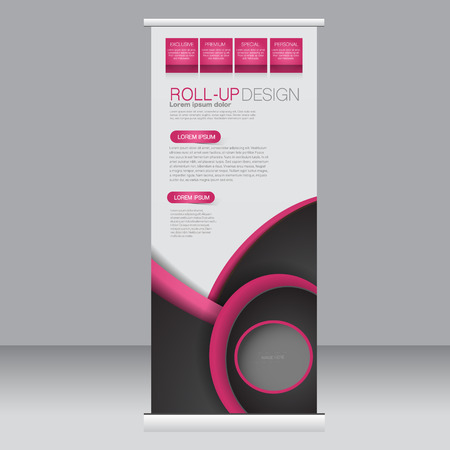 rollup: Roll up banner stand template. Abstract background for design,  business, education, advertisement. Pink and black color. Vector  illustration.