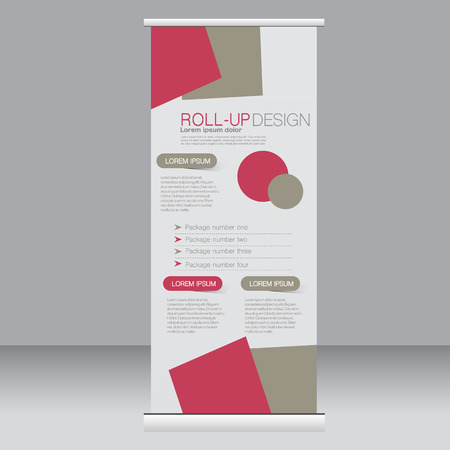 Roll up banner stand template. Abstract background for design,  business, education, advertisement. Red and brown color. Vector  illustration.
