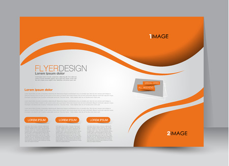 Flyer, brochure, billboard template design landscape orientation for education, presentation, website. Orange color. Editable vector illustration.