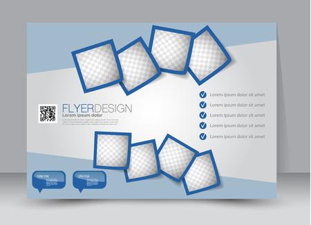 orientation: Flyer, brochure, billboard template design landscape orientation for education, presentation, website. Blue color. Editable vector illustration.