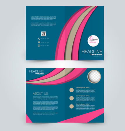 two page: Abstract flyer design background. Brochure template. Can be used for magazine cover, business mockup, education, presentation, report. Blue, pink, and brown color.