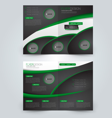 double page: Abstract flyer design background. Brochure template. Can be used for magazine cover, business mockup, education, presentation, report. Black and green color. Illustration