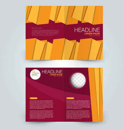 double page: Abstract flyer design background. Brochure template. Can be used for magazine cover, business mockup, education, presentation, report. Red and orange color.