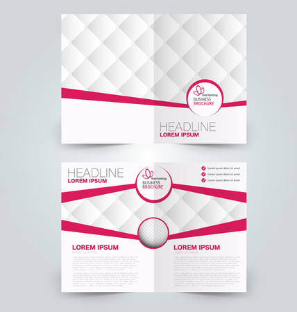 two page: Abstract flyer design background. Brochure template. Can be used for magazine cover, business mockup, education, presentation, report. Pink  color. Illustration