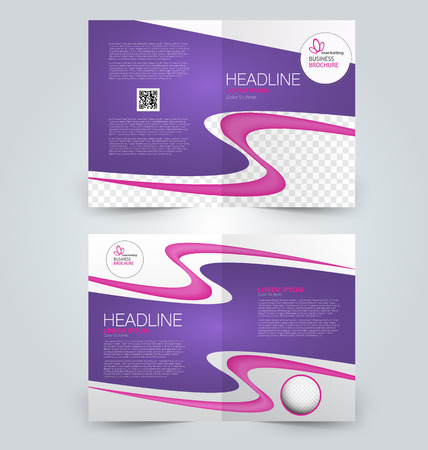 two page: Abstract flyer design background. Brochure template. Can be used for magazine cover, business mockup, education, presentation, report. Pink and purple color.