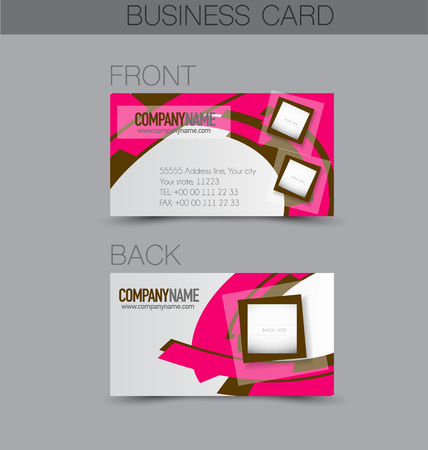 name calling: Business card design set template for company corporate style. Pink and brown color. Vector illustration.