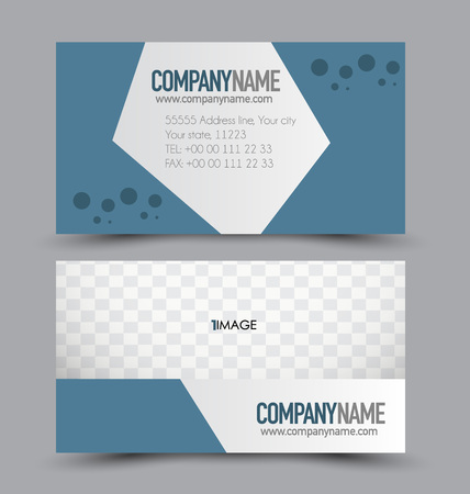 name calling: Business card design set template for company corporate style. Blue color. Vector illustration.