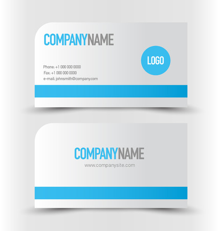 calling art: Business card design set template for company corporate style. Blue and silver color. Vector illustration. Illustration